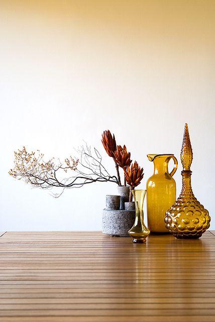 Fall floral vignette amber glassware genie vase pitcher | Girlfriend is Better
