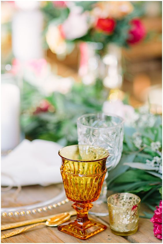 Vintage amber glassware goblets table setting | Girlfriend is Better