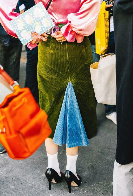 Corduroy skirt with denim insert   Girlfriend is better