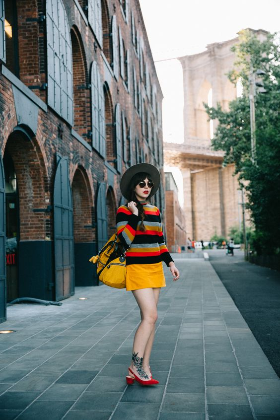 70s inspired yellow corduroy mini skirt and striped sweater   Girlfriend is Better