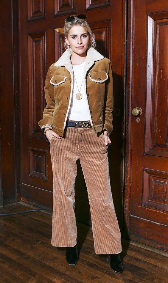 Western shearling jacket with cropped wide-leg corduroy pants   Girlfriend is Better