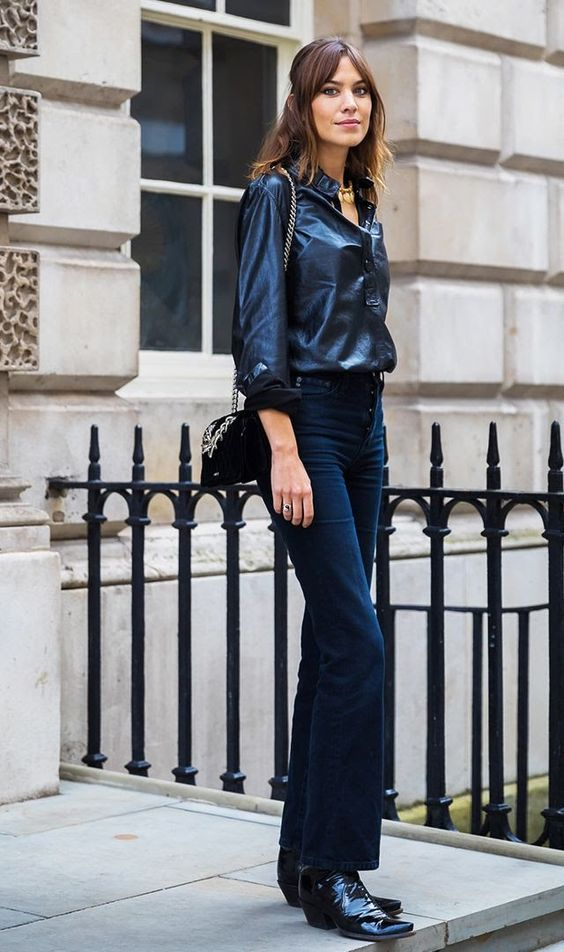 Black corduroy pants with boots and satin blouse   Girlfriend is Better
