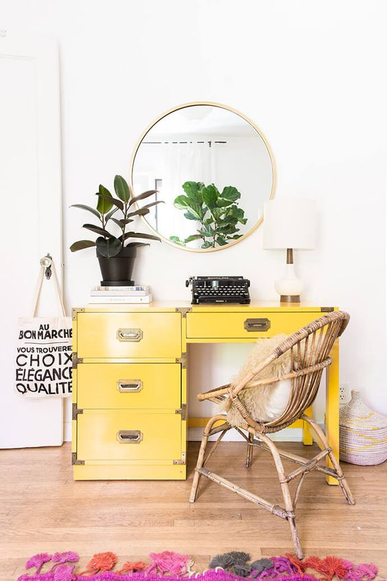 Libra astrology home decor guide | Vintage desk with wicker chair | Girlfriend is Better