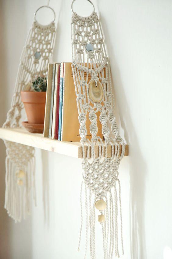 Macrame wall hangings for bookshelf decor | Girlfriend is Better