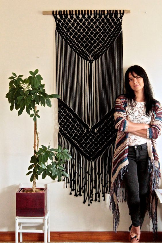 Black macrame wall hangings for Halloween and beyond | Girlfriend is Better