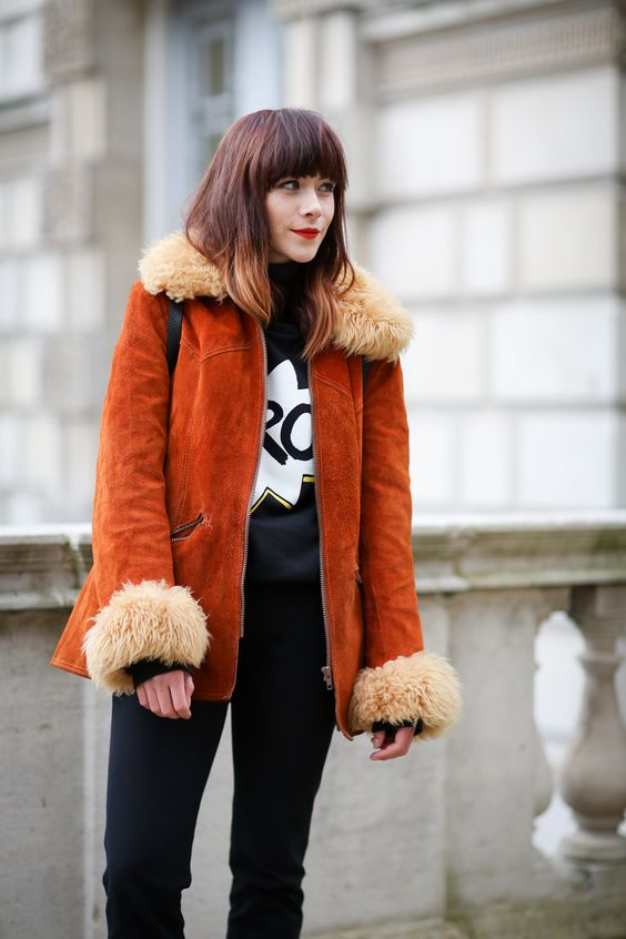 Burnt orange suede coat with shearling collar and cuffs   Girlfriend is Better