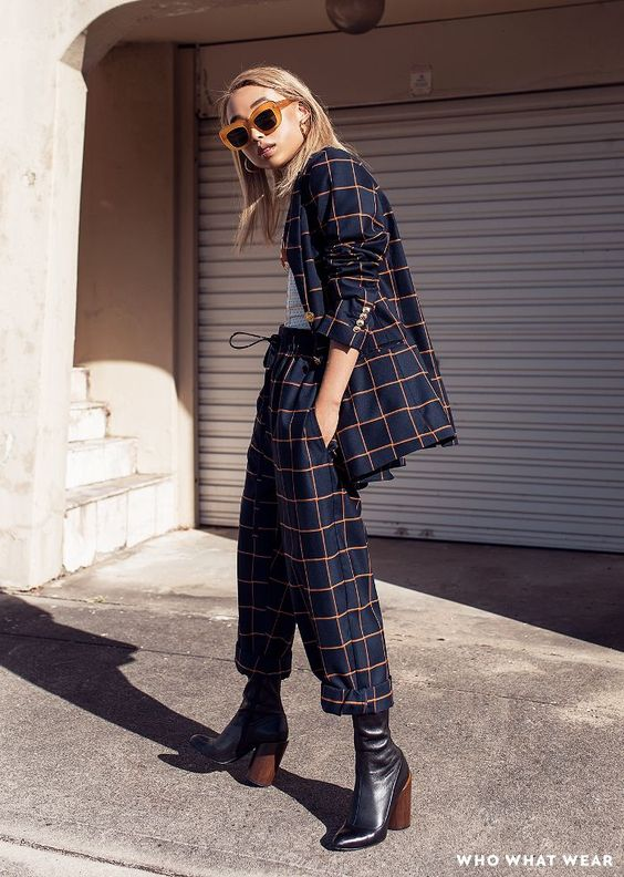 Margaret Zhang in head-to-toe plaid pant suit | Girlfriend is Better