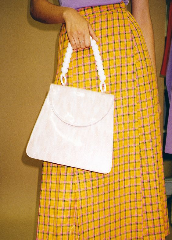 Vintage yellow plaid skirt with Maryam Nassir Zadeh bag | Girlfriend is Better