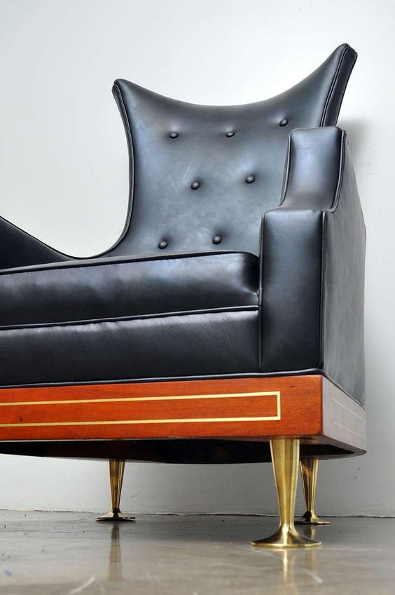 Leather and Mahogany Wingback Chair by Arturo Pani, Mexico, circa 1950s | Girlfriend is Better