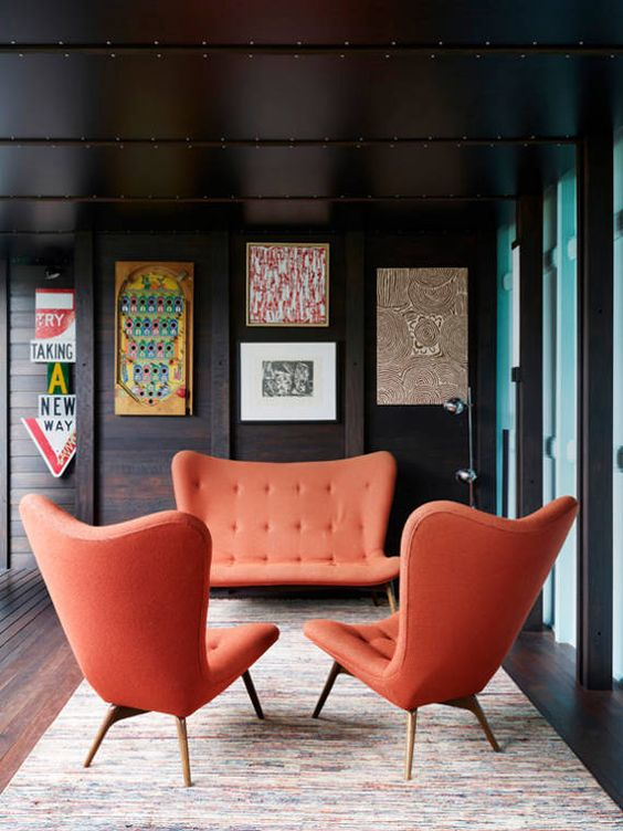 Mid-century modern wingback chair and sofa set | Girlfriend is Better