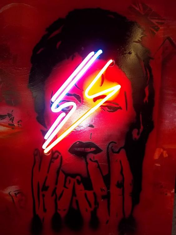 David Bowie Ziggy Stardust neon art   Girlfriend is Better