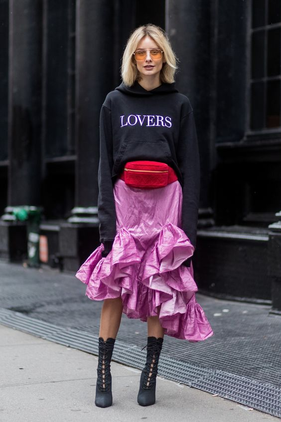 Red fanny pack with pink ruffle skirt   Girlfriend is Better