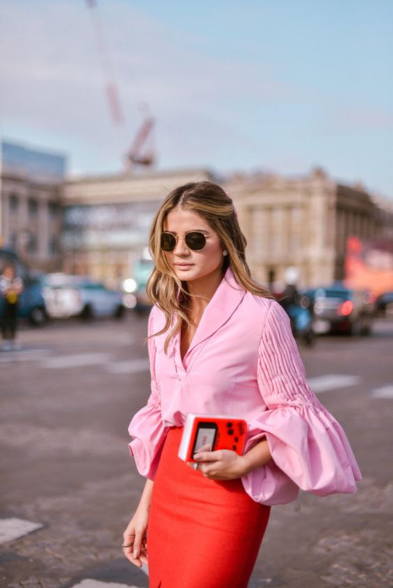 Flared sleeve bells on pink blouse with red skirt   Girlfriend is Better