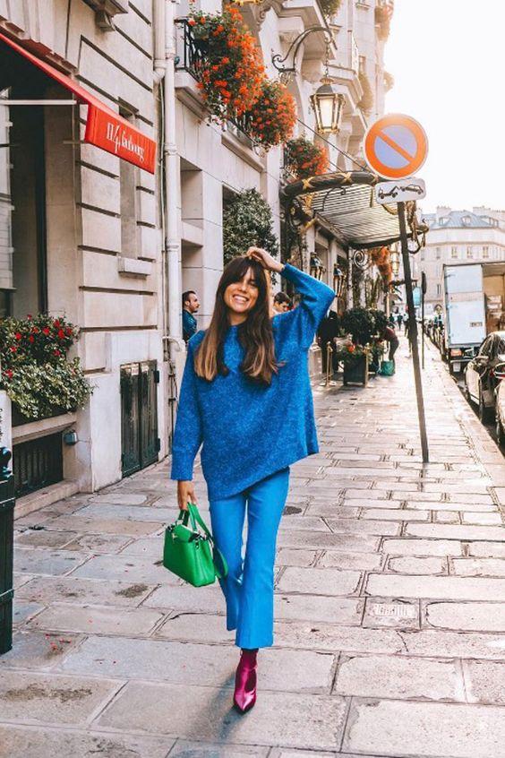 Bells on cropped flared blue pants   Jewel tones   Girlfriend is Better