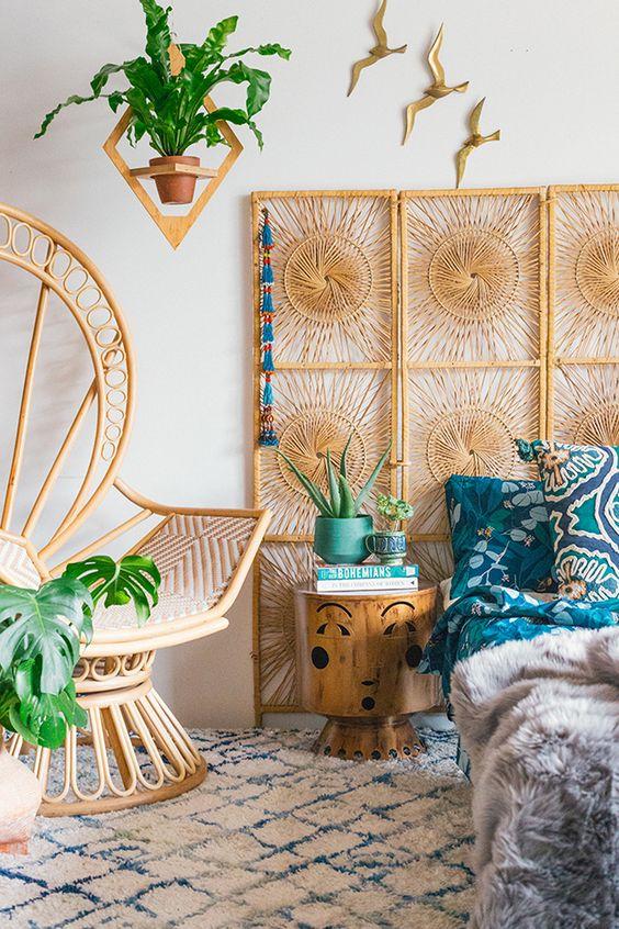 Vintage rattan screen and peacock chair   Celestial decor sun   Girlfriend is Better