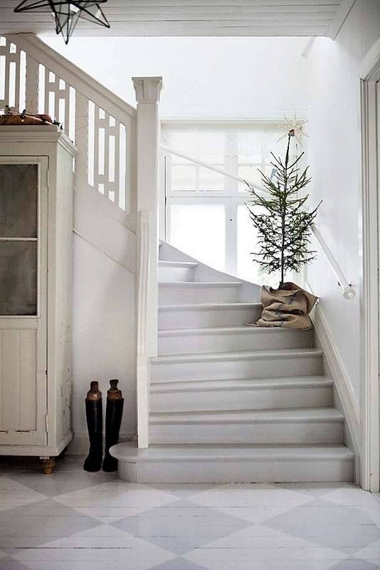 Christmas tree on stairs   Hygge decor   Girlfriend is Better