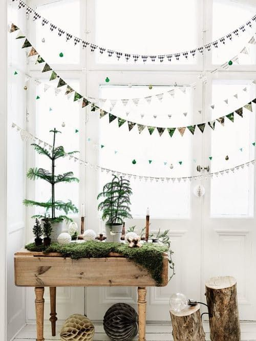 Christmas tree display on a table with banners   Hygge decor ideas   Girlfriend is Better
