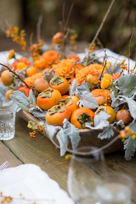 Persimmons as table decoration | Girlfriend is Better