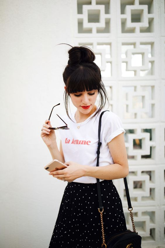 Black skirt with polka dots and French graphic tee | Girlfriend is Better