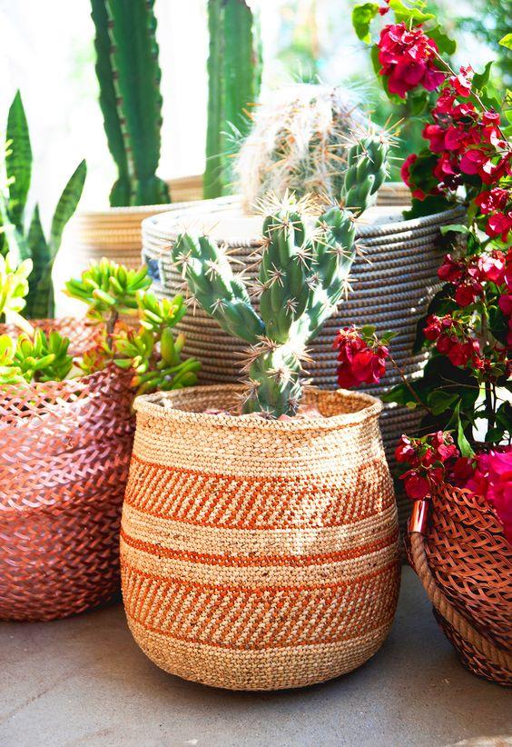 Sagittarius astrology home decor   Outdoor cactus ethnic basket   Girlfriend is Better