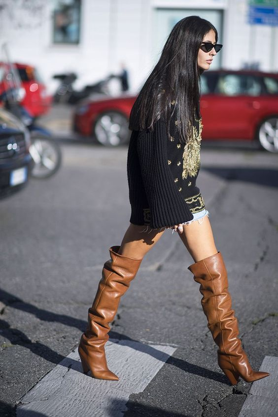 Long oversize sweaters with thigh high boots   Girlfriend is Better