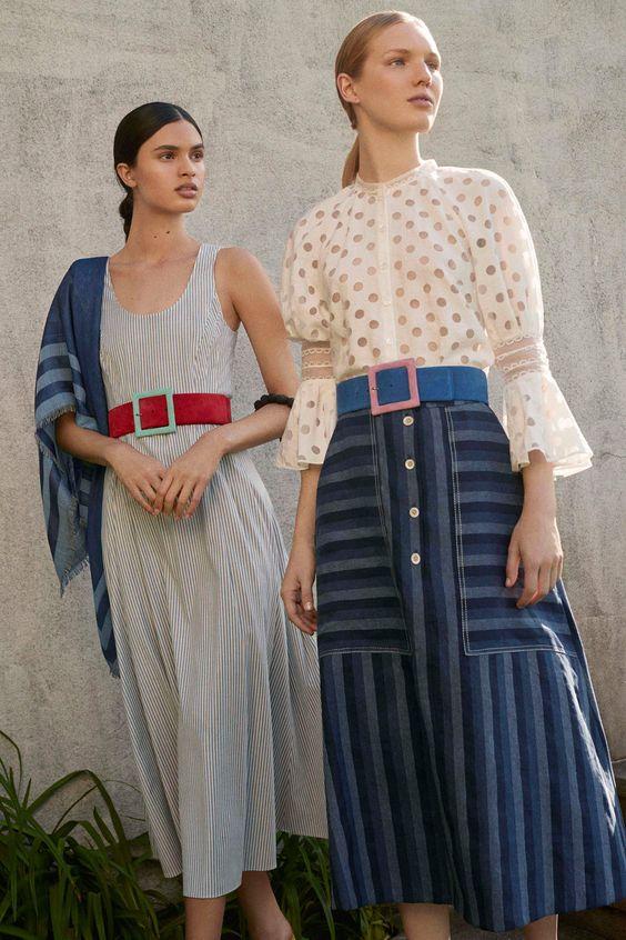 Carolina Herrera Resort 2018 | Striped skirt and belt | Polka dots and bell sleeves | Girlfriend is Better
