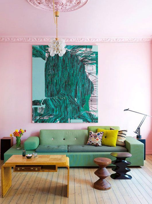 Oversize art in teal with pink and green living room | Mid-century modern decor | Girlfriend is Better