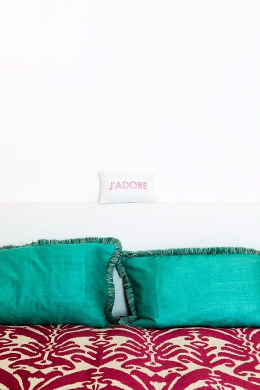 Teal pillow shams with red quilt | Bohemian bedroom decor | Girlfriend is Better