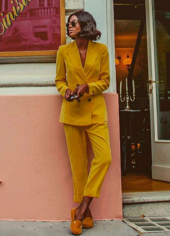 Double-breasted blazers   Marta Lungo in yellow pantsuit   Girlfriend is Better