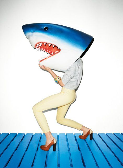 Exploring human nature through 19th century literature   Shark on the Run by Terry Richardson   Girlfriend is Better