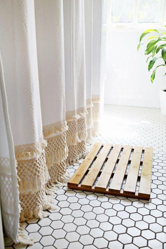 Shower curtains under $50 | Mid-century modern fringe | Girlfriend is Better