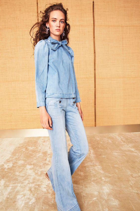 Valentine's Day fashion   Ulla Johnson Resort 2018 pussy bow denim blouse jeans   Girlfriend is Better
