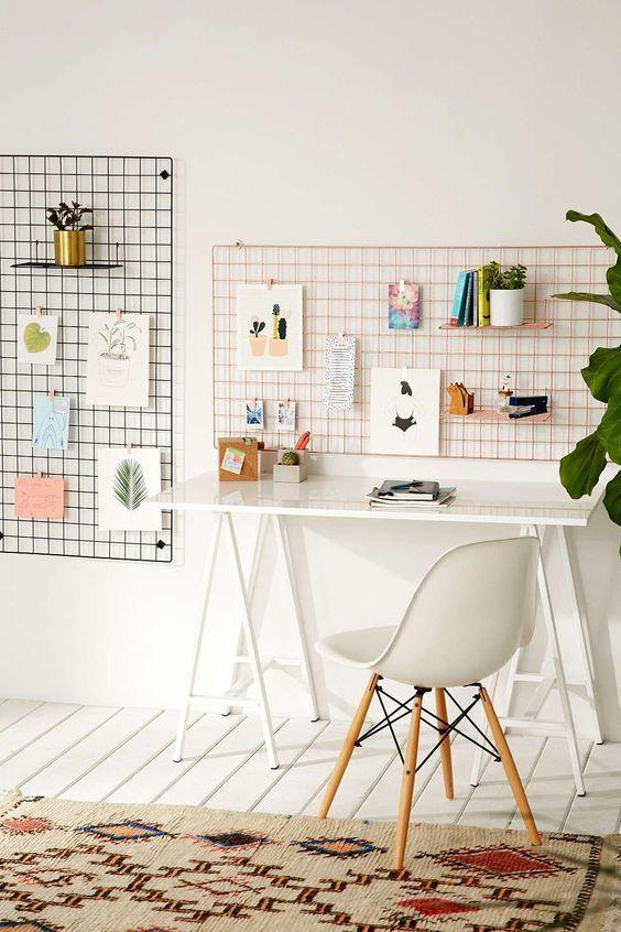 Organization ideas for office | Wire wall grid shelf | Girlfriend is Better