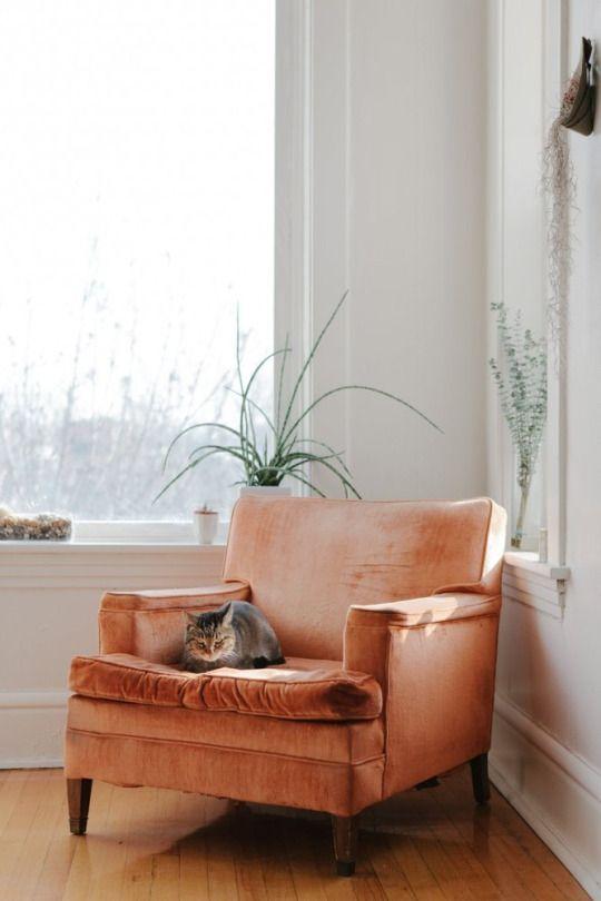 Aries astrology home decor | Orange velvet chair mid century modern | Girlfriend is Better