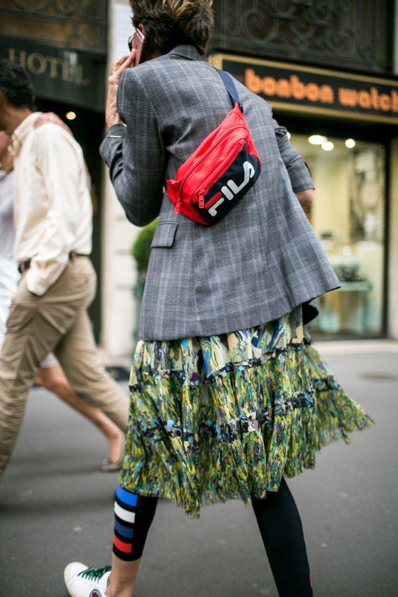 Print mixing skirt, plaid blazer, Fila fanny pack | Paris Fashion Week 2018 | Girlfriend is Better