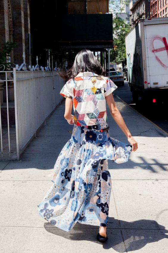 Print mixing floral skirt, patchwork blouse | Bohemian eclectic | Girlfriend is Better