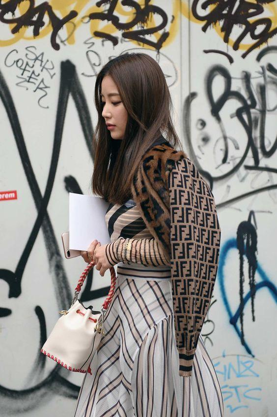 Print mixing plaid skirt, striped shirt, Fendi jacket | Milan Fashion Week 2018 | Girlfriend is Better