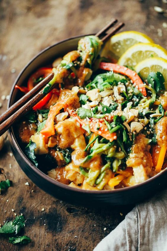 Whole30 Thai Chicken Zucchini Noodles recipe   Quick low-carb meals   Girlfriend is Better