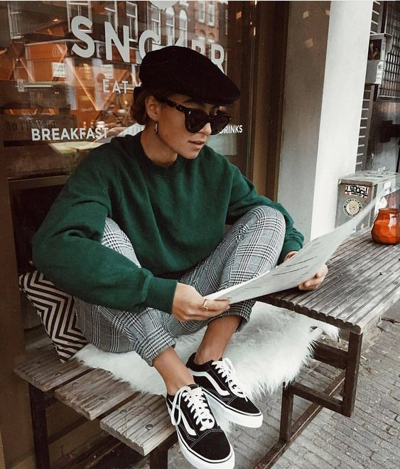 Berets street style Paris | gingham pants skate style | Girlfriend is Better