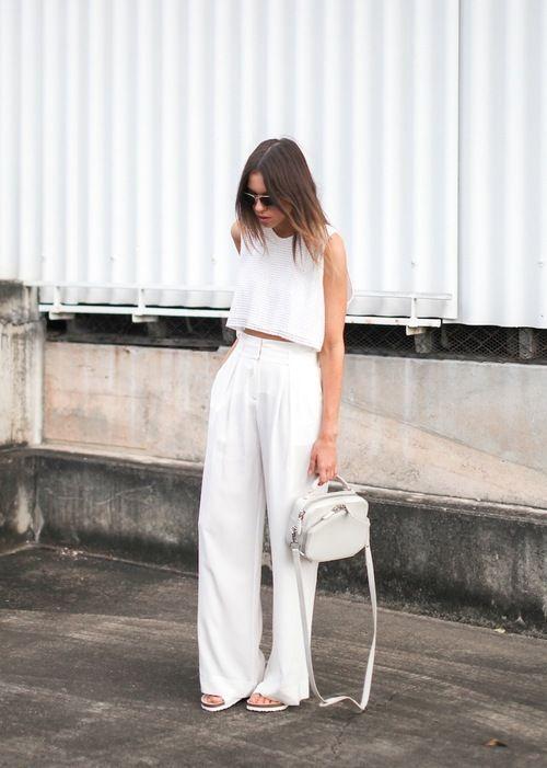 Crop tops and high-waist pants set all white   Girlfriend is Better