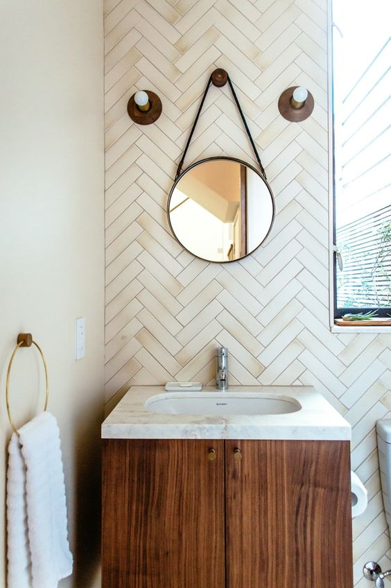 Earth element Feng Shui | Herringbone ceramic tile back splash | stone bathroom sink | Girlfriend is Better