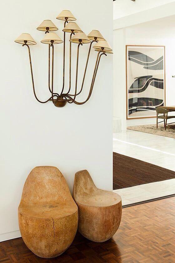 Earth element Feng Shui | Mushroom style sconce, heavy wood seats | Girlfriend is Better