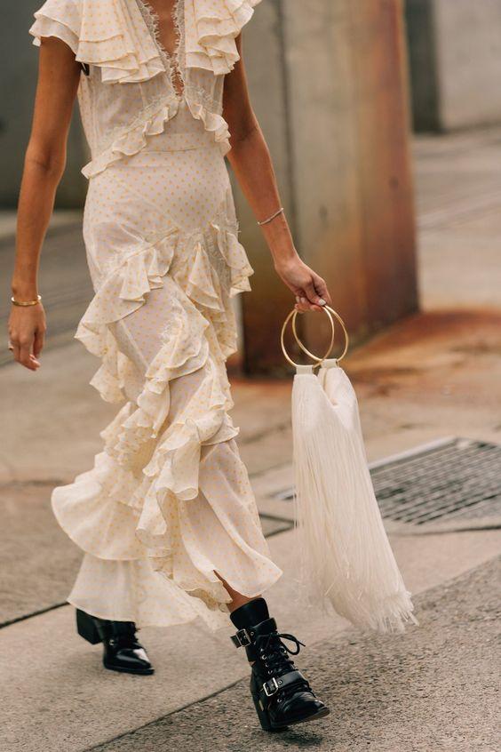 Monochromatic minimal polka dot ruffled dress | Girlfriend is Better