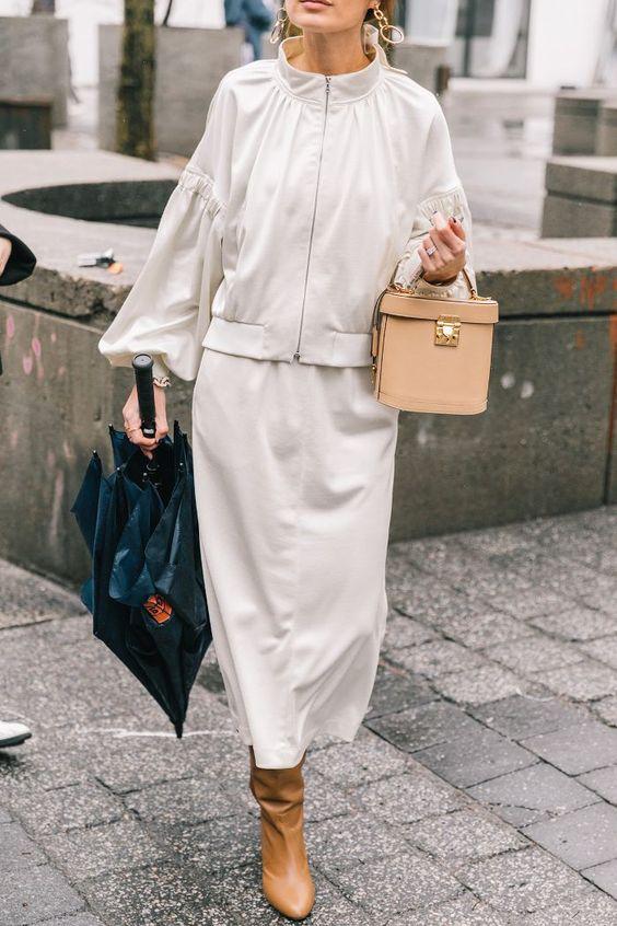 Monochromatic minimal jacket skirt neutral accessories | Girlfriend is Better