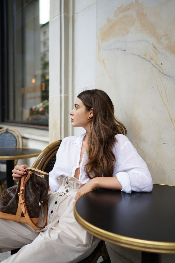 Monochromatic minimal high-rise chinos all white blouse | Girlfriend is Better