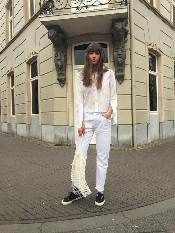 Monochromatic minimal all white denim bell sleeve blouse net bag | Girlfriend is Better