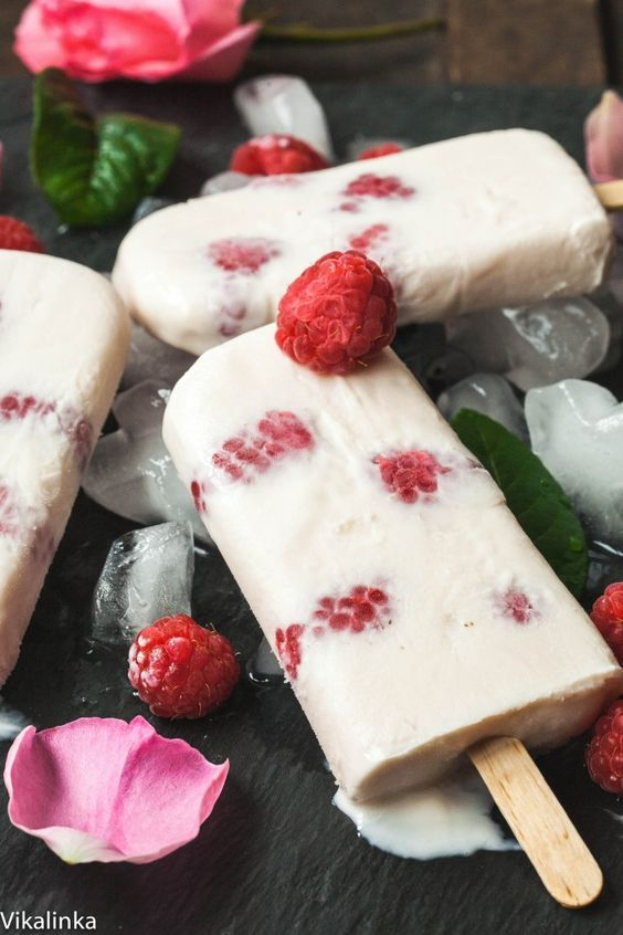 Rose Water Raspberry Yogurt Pops | Rose recipes healthy | Girlfriend is Better