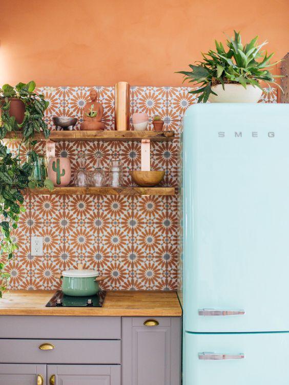 Taurus astrology home decor guide   Bohemian kitchen Smeg refrigerator   Girlfriend is Better