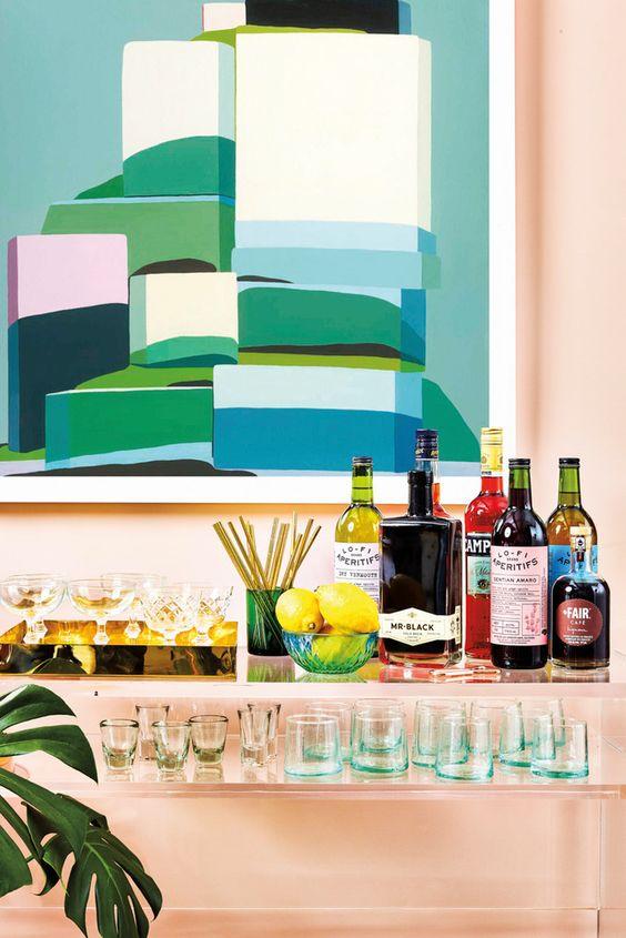 Taurus astrology home decor guide   Abstract oversize art and modern bar cart   Girlfriend is Better