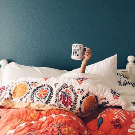 Taurus astrology home decor guide   This is Probably Wine mug in Bohemian bedding   Girlfriend is Better